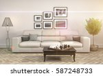 interior with sofa. 3d... | Shutterstock . vector #587248733