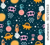 space seamless pattern with... | Shutterstock .eps vector #587255513