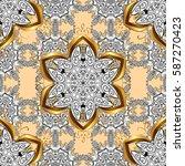 golden element on beige... | Shutterstock .eps vector #587270423