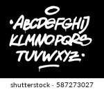 Brush Hand Style Font. Vector...