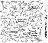 construction doodle icon vector ... | Shutterstock .eps vector #587274617