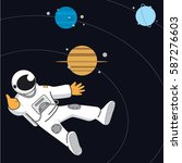 space banner with astonaut ... | Shutterstock .eps vector #587276603