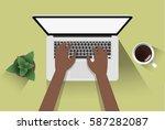 afroamerican man using laptop ... | Shutterstock .eps vector #587282087