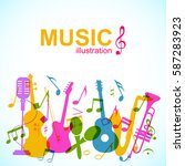 decorative musical abstract... | Shutterstock .eps vector #587283923