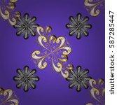 golden pattern on violet... | Shutterstock .eps vector #587285447