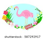 flamingo and tropical flowers... | Shutterstock .eps vector #587292917