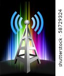 radio tower on abstract... | Shutterstock .eps vector #58729324