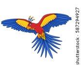 flying parrot cartoon | Shutterstock . vector #587294927