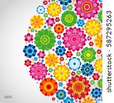 flowers spring design on a... | Shutterstock .eps vector #587295263