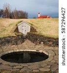 snorri's bath in reykholt    Shutterstock . vector #587296427