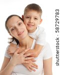 mother with the son isolated on ... | Shutterstock . vector #58729783