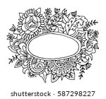 hand drawn frame with flowers... | Shutterstock .eps vector #587298227