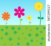 colorful flowers vector and... | Shutterstock .eps vector #587299217