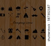 camping icons set on wood...