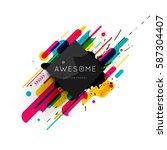 memphis geometric background... | Shutterstock .eps vector #587304407