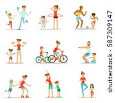 parent and child doing sportive ... | Shutterstock .eps vector #587309147