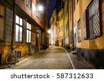 small street with bike in... | Shutterstock . vector #587312633