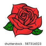 flower rose  red buds and green ... | Shutterstock .eps vector #587316023