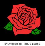 flower rose  red buds and green ... | Shutterstock .eps vector #587316053