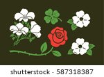 hipster flowers with rose daisy ... | Shutterstock .eps vector #587318387