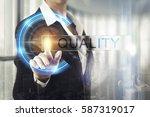 business women touching the... | Shutterstock . vector #587319017