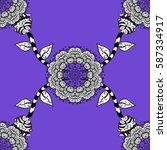 damask white abstract flower... | Shutterstock .eps vector #587334917