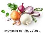 various onions and spices... | Shutterstock . vector #587336867