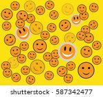 sunny smiles on a yellow... | Shutterstock .eps vector #587342477