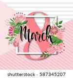 8 march design with flowers.... | Shutterstock .eps vector #587345207