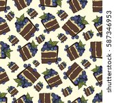 cake with berries  vector... | Shutterstock .eps vector #587346953