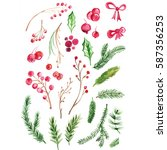 watercolor set of christmas... | Shutterstock . vector #587356253