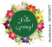 hello spring. wreath of mimosa... | Shutterstock .eps vector #587359877
