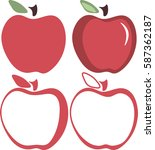 red apple simple icon. vector... | Shutterstock .eps vector #587362187