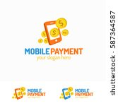 mobile payment logo set with... | Shutterstock .eps vector #587364587