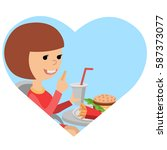 girl with fast food in his... | Shutterstock .eps vector #587373077