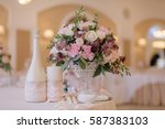 beautifully decorated bouquet...   Shutterstock . vector #587383103