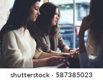 group of creative female... | Shutterstock . vector #587385023