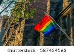lgbt pride flag  rainbow flag ... | Shutterstock . vector #587424563