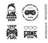 retro video games related t... | Shutterstock .eps vector #587424593