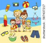 beach in summer icon set with... | Shutterstock .eps vector #587437217