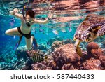 snorkeler diving along the... | Shutterstock . vector #587440433