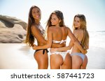 beautiful teenage friends on... | Shutterstock . vector #587441723