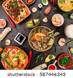various of asian meals on... | Shutterstock . vector #587446343
