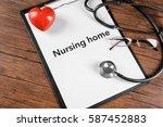 nursing home contract on...   Shutterstock . vector #587452883