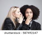 two teenage hipster girls in...   Shutterstock . vector #587492147