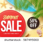 summer sale with 50  off in red ... | Shutterstock .eps vector #587495003