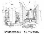 sketch streaks toilet  ... | Shutterstock .eps vector #587495087