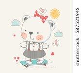 baby bear on skateboard.hand... | Shutterstock .eps vector #587521943