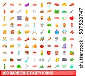 100 barbecue party icons set in ... | Shutterstock .eps vector #587528747