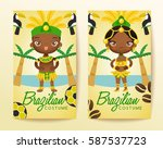 brazilian traditional costumes  ... | Shutterstock .eps vector #587537723